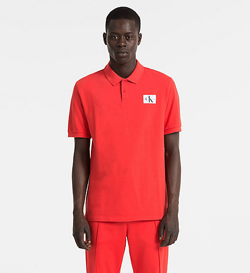 CALVIN KLEIN JEANS Cotton Piqué Polo - TOMATO - CALVIN KLEIN JEANS PACK YOUR BAG - main image
