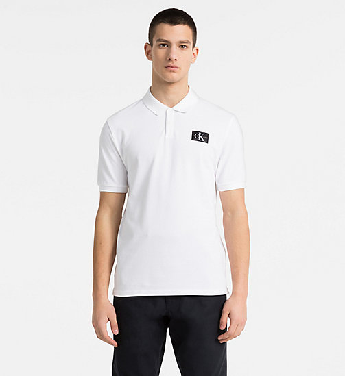 CALVIN KLEIN JEANS Cotton Piqué Polo - BRIGHT WHITE / CK BLACK - CALVIN KLEIN JEANS NEW IN - main image
