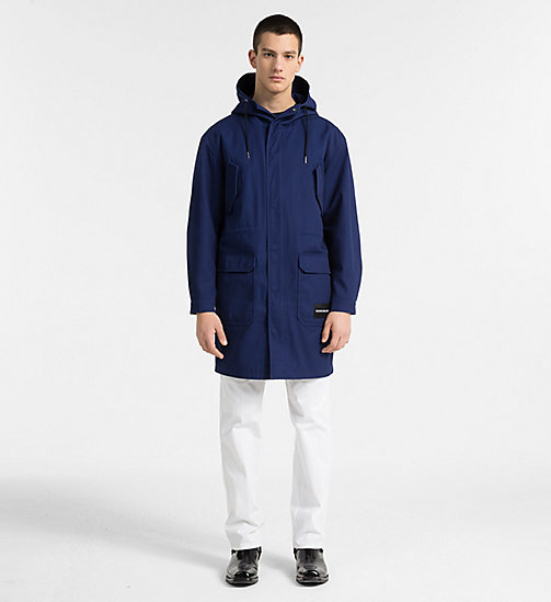 CALVIN KLEIN JEANS Canvas Hooded Parka Coat - BLUE DEPTHS - CALVIN KLEIN JEANS CLOTHES - detail image 1