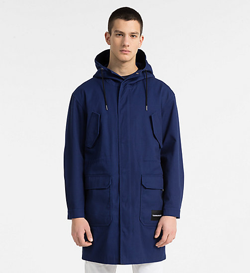 CALVIN KLEIN JEANS Canvas Hooded Parka Coat - BLUE DEPTHS - CALVIN KLEIN JEANS CLOTHES - main image