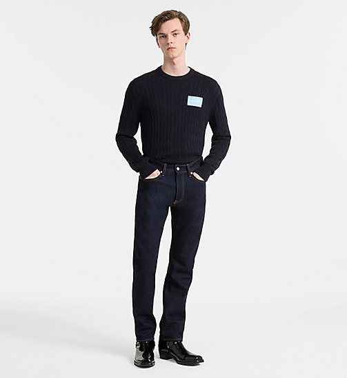 CALVIN KLEIN JEANS Cotton Cable Knit Jumper - NIGHT SKY - CALVIN KLEIN JEANS CLOTHES - detail image 1
