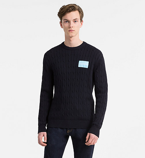 CALVIN KLEIN JEANS Cotton Cable Knit Jumper - NIGHT SKY - CALVIN KLEIN JEANS CLOTHES - main image