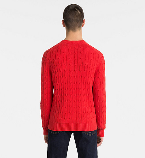 CALVIN KLEIN JEANS Cotton Cable Knit Jumper - TOMATO - CALVIN KLEIN JEANS PACK YOUR BAG - detail image 1