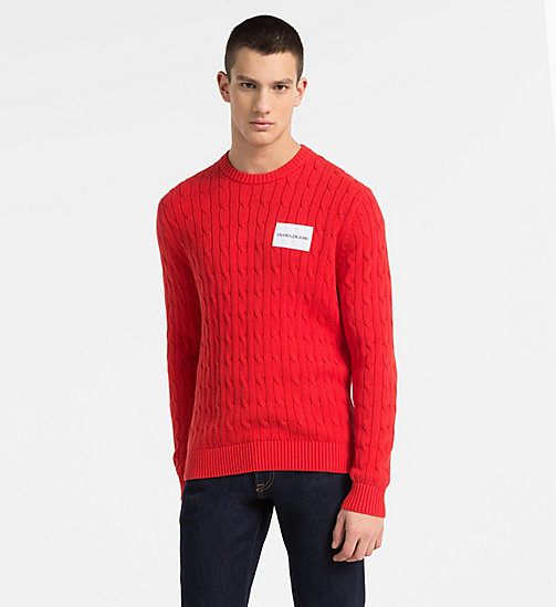 CALVIN KLEIN JEANS Cotton Cable Knit Jumper - TOMATO - CALVIN KLEIN JEANS PACK YOUR BAG - main image