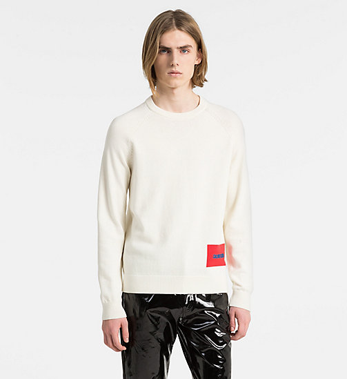 CALVIN KLEIN JEANS Wool Blend Logo Jumper - BRIGHT WHITE - CALVIN KLEIN JEANS CLOTHES - main image