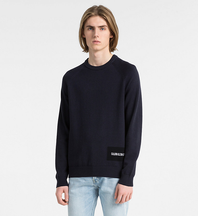 CALVIN KLEIN JEANS Wool Blend Logo Jumper - BRIGHT WHITE - CALVIN KLEIN JEANS MEN - main image