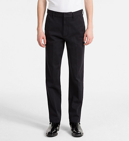 CALVIN KLEIN JEANS Slim Cotton Twill Trousers - CK BLACK - CALVIN KLEIN JEANS CLOTHES - main image
