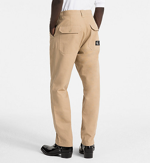 CALVIN KLEIN JEANS Straight Canvas Worker Trousers - TRAVERTINE - CALVIN KLEIN JEANS CLOTHES - detail image 1