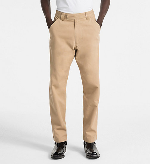 CALVIN KLEIN JEANS Straight Canvas Worker Trousers - TRAVERTINE - CALVIN KLEIN JEANS CLOTHES - main image
