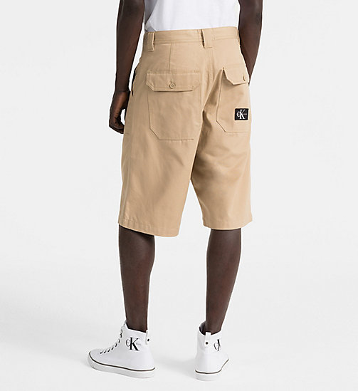 CALVIN KLEIN JEANS Straight Canvas Worker Shorts - TRAVERTINE - CALVIN KLEIN JEANS CLOTHES - detail image 1