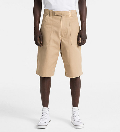 CALVIN KLEIN JEANS Straight Canvas Worker Shorts - TRAVERTINE - CALVIN KLEIN JEANS CLOTHES - main image