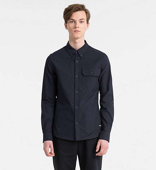 CALVIN KLEIN JEANS Slim Oxford Cotton Shirt - NIGHT SKY - CALVIN KLEIN JEANS CLOTHES - main image