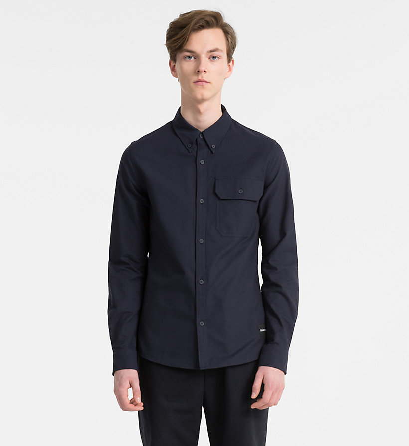 CALVIN KLEIN JEANS Slim Oxford Cotton Shirt - REGATTA - CALVIN KLEIN JEANS MEN - main image