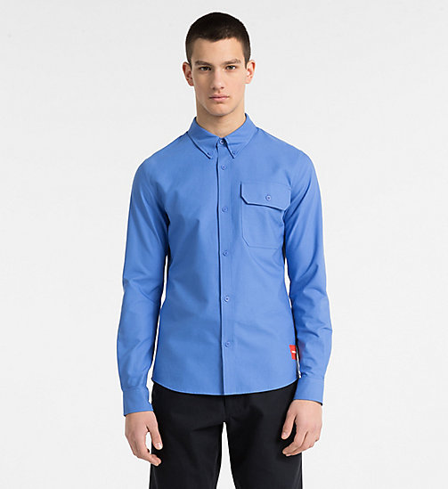 CALVIN KLEIN JEANS Slim Oxford Cotton Shirt - REGATTA - CALVIN KLEIN JEANS CLOTHES - main image