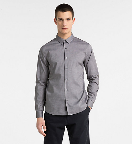 CALVIN KLEIN JEANS Slim Cotton Dobby Shirt - GRAY PINSTRIPE - CALVIN KLEIN JEANS NEW IN - main image