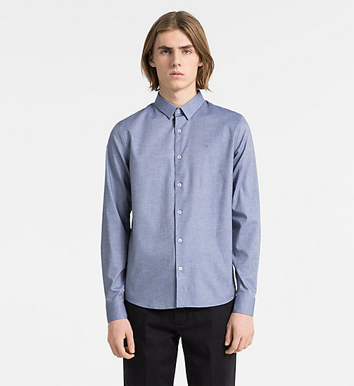 CALVIN KLEIN JEANS Slim Cotton Dobby Shirt - SKY BLUE - CALVIN KLEIN JEANS NEW IN - main image
