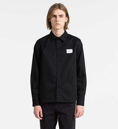 CALVIN KLEIN JEANS Cotton Blend Twill Logo Shirt - CK BLACK - CALVIN KLEIN JEANS CLOTHES - main image
