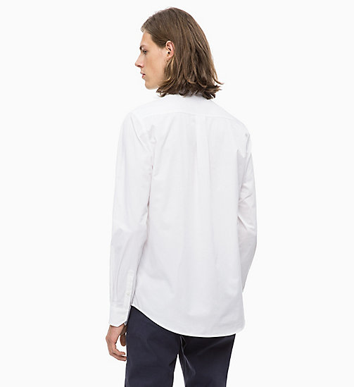 CALVIN KLEIN JEANS Slim Cotton Twill Shirt - BRIGHT WHITE - CALVIN KLEIN JEANS CLOTHES - detail image 1