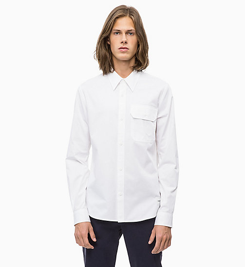 CALVIN KLEIN JEANS Slim Cotton Twill Shirt - BRIGHT WHITE - CALVIN KLEIN JEANS CLOTHES - main image