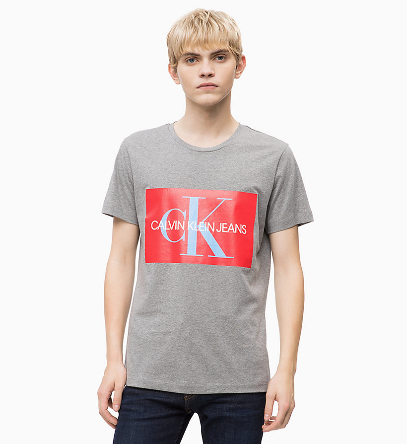 CALVIN KLEIN JEANS Slim Logo T-shirt - BRIGHT WHITE / RED - CALVIN KLEIN JEANS MEN - main image