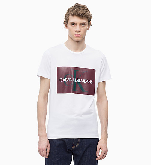 CALVIN KLEIN JEANS Slim Logo T-shirt - BRIGHT WHITE/RED - CALVIN KLEIN JEANS ALL GIFTS - main image