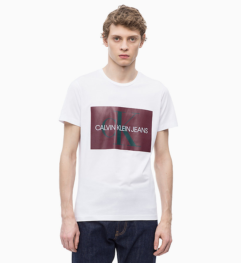 CALVIN KLEIN JEANS Slim Logo T-shirt - BRIGHT WHITE/ JOLLY GREEN - CALVIN KLEIN JEANS MEN - main image