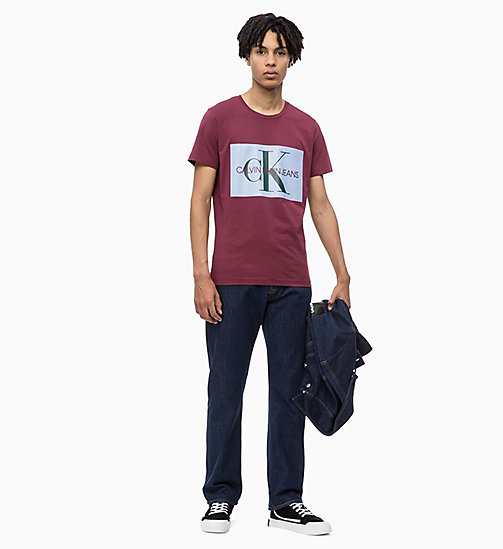 CALVIN KLEIN JEANS Slim Logo T-shirt - TAWNY PORT/CHAMBRAY - CALVIN KLEIN JEANS NEW ICONS - detail image 1