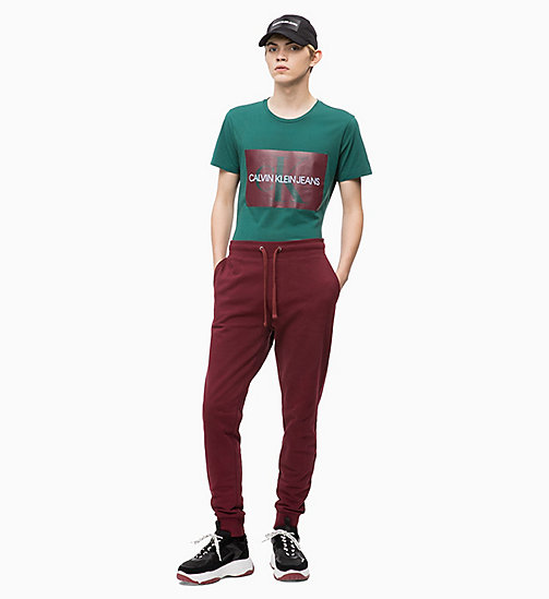 CALVIN KLEIN JEANS Slim Logo T-shirt - JUNE BUG/TAWNY PORT - CALVIN KLEIN JEANS NEW ICONS - detail image 1