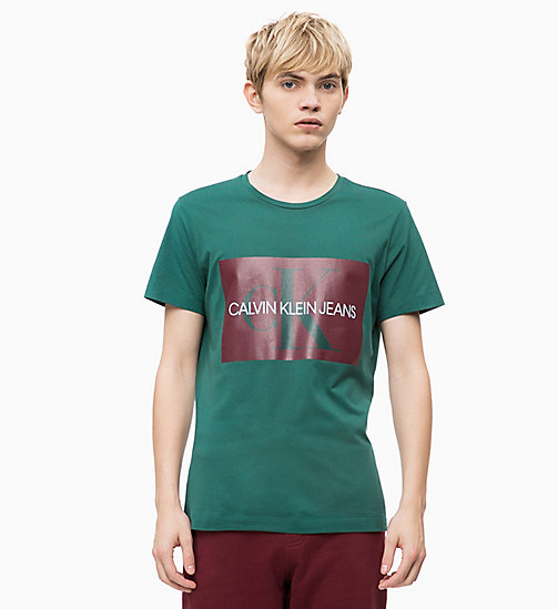CALVIN KLEIN JEANS Slim Logo T-shirt - JUNE BUG/TAWNY PORT - CALVIN KLEIN JEANS NEW ICONS - main image