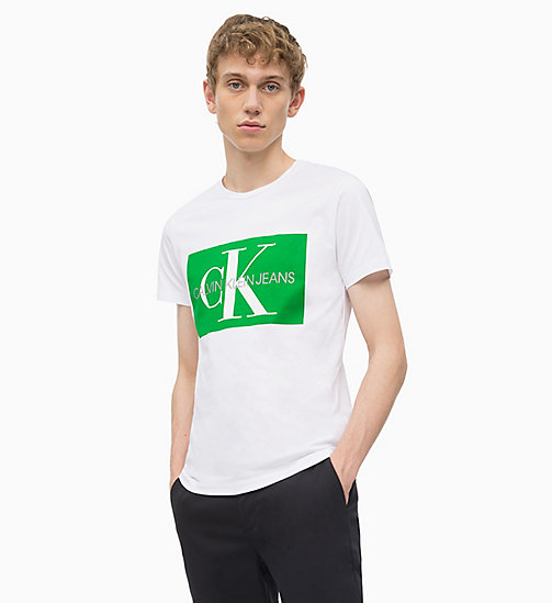 CALVIN KLEIN JEANS Slim Logo T-shirt - BRIGHT WHITE/ JOLLY GREEN - CALVIN KLEIN JEANS LOGO SHOP - main image
