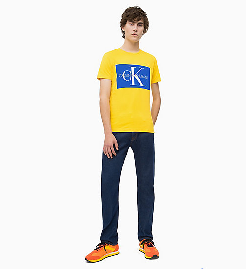 CALVIN KLEIN JEANS Slim Logo T-shirt - LEMON / SURF THE WEB - CALVIN KLEIN JEANS LOGO SHOP - detail image 1