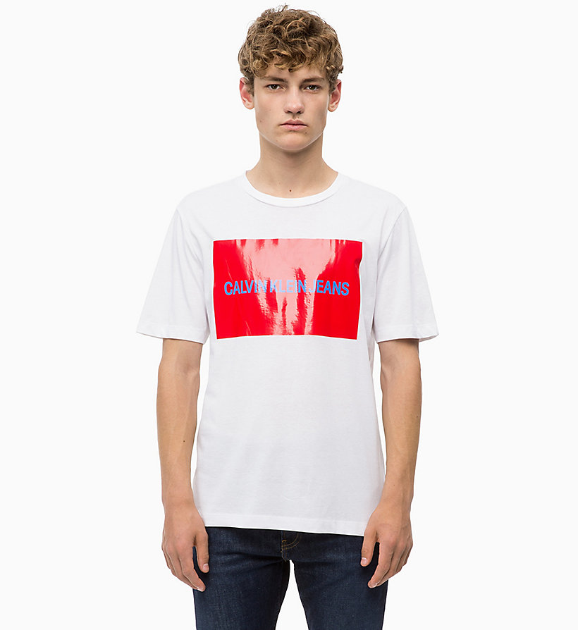 CALVIN KLEIN JEANS Organic Cotton Logo T-shirt - GREY HEATHER / STRAWBERRY CREAM - CALVIN KLEIN JEANS MEN - main image