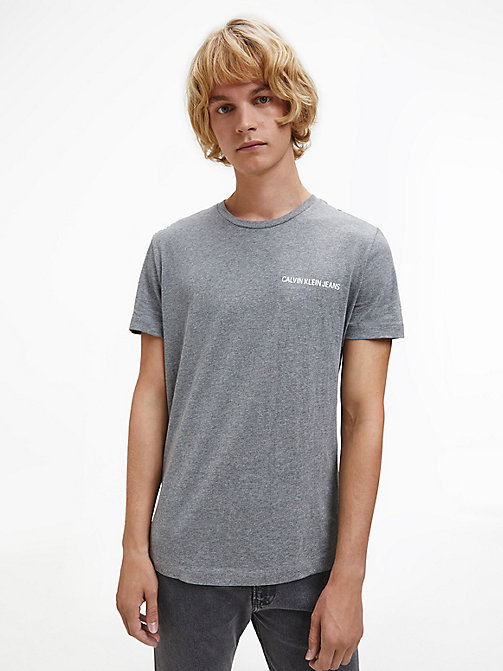 CALVIN KLEIN JEANS Slim Fit T-Shirt aus Bio-Baumwolle - GREY HEATHER - CALVIN KLEIN JEANS HEAT WAVE - main image