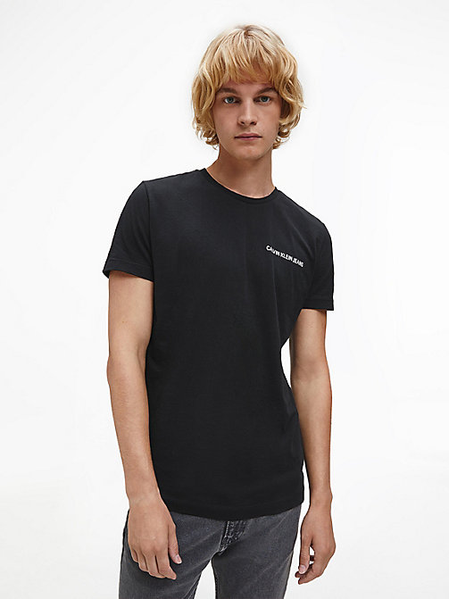 CALVIN KLEIN JEANS Slim Organic Cotton T-shirt - CK BLACK / BRIGHT WHITE - CALVIN KLEIN JEANS LOGO SHOP - main image
