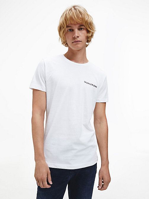 CALVIN KLEIN JEANS Slim Organic Cotton T-shirt - BRIGHT WHITE / BLACK - CALVIN KLEIN JEANS HEAT WAVE - main image