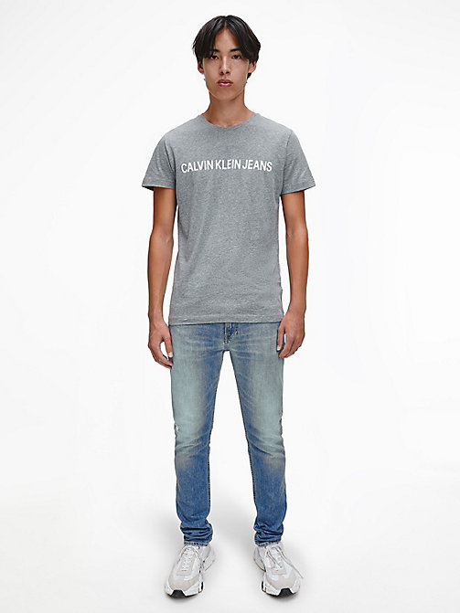CALVIN KLEIN JEANS Organic Cotton Logo T-shirt - GREY HEATHER -  NEW IN - detail image 1