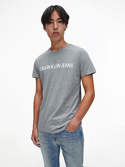 CALVIN KLEIN JEANS Organic Cotton Logo T-shirt - GREY HEATHER -  NEW IN - main image