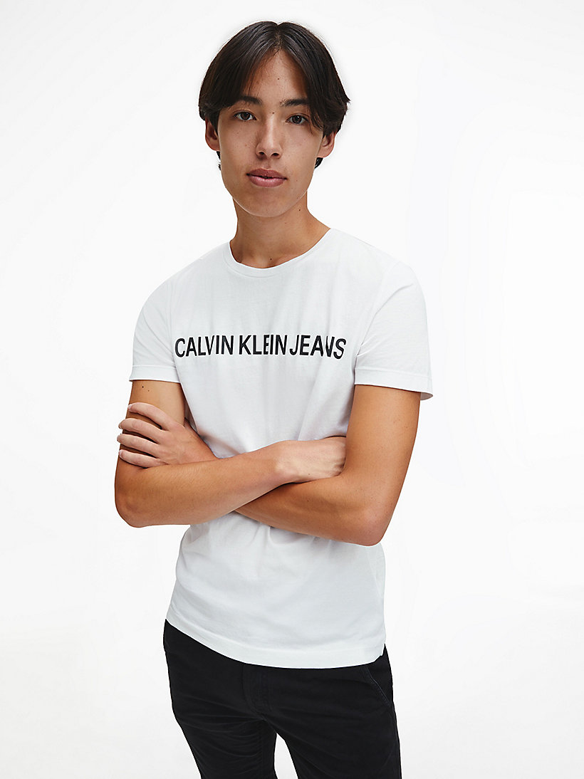 CALVIN KLEIN JEANS Organic Cotton Logo T-shirt - GREY HEATHER - CALVIN KLEIN JEANS MEN - main image
