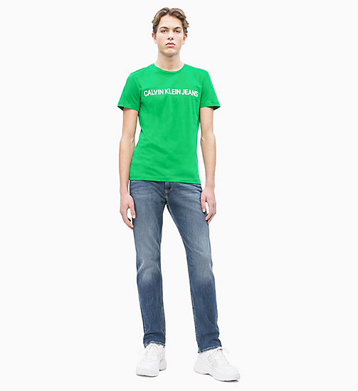 CALVIN KLEIN JEANS Slim Organic Cotton Logo T-shirt - JOLLY GREEN/BRIGHT WHITE - CALVIN KLEIN JEANS LOGO SHOP - detail image 1