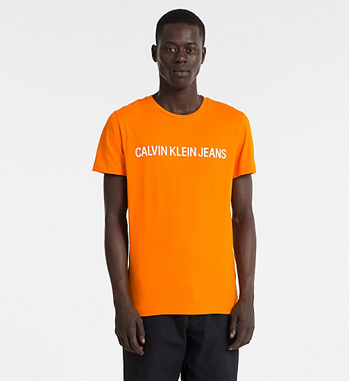 CALVIN KLEIN JEANS Slim Organic Cotton T-shirt - ORANGE TIGER 16-1358 TCX - CALVIN KLEIN JEANS LOGO SHOP - main image