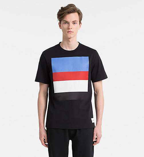 CALVIN KLEIN JEANS Stripe Embossed Logo T-shirt - CK BLACK - CALVIN KLEIN JEANS NEW IN - main image
