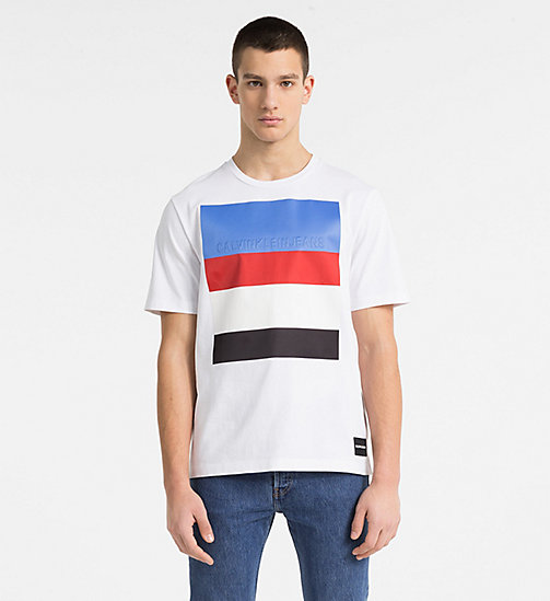 CALVIN KLEIN JEANS Stripe Embossed Logo T-shirt - BRIGHT WHITE - CALVIN KLEIN JEANS NEW IN - main image