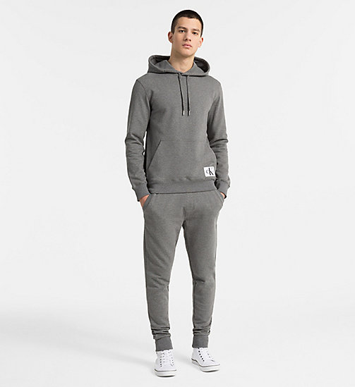 CALVIN KLEIN JEANS Cotton Terry Hoodie - GREY HEATHER - CALVIN KLEIN JEANS NEW IN - detail image 1