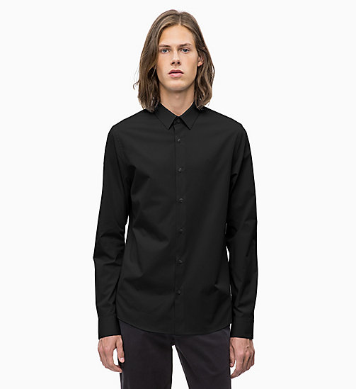 CALVIN KLEIN JEANS Slim Cotton Stretch Shirt - CK BLACK - CALVIN KLEIN JEANS CLOTHES - main image
