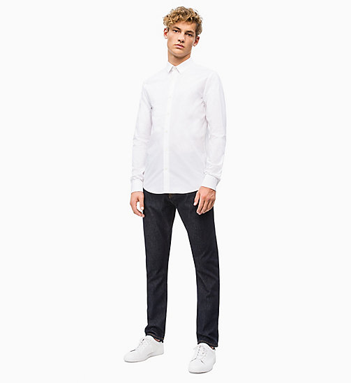 CALVIN KLEIN JEANS Slim Cotton Stretch Shirt - BRIGHT WHITE - CALVIN KLEIN JEANS CLOTHES - detail image 1