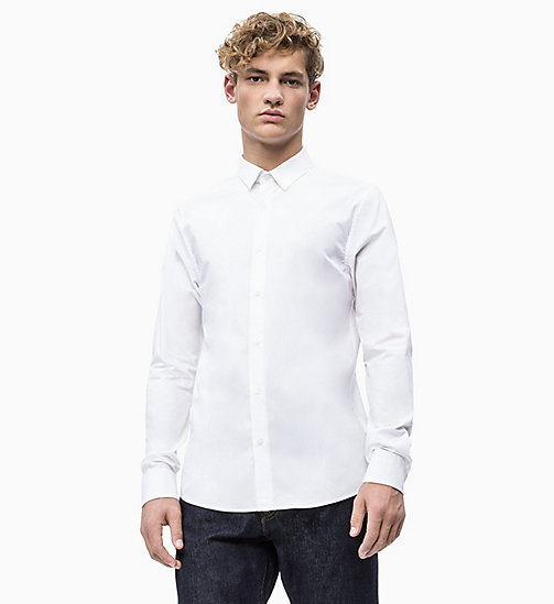 CALVIN KLEIN JEANS Slim Cotton Stretch Shirt - BRIGHT WHITE - CALVIN KLEIN JEANS CLOTHES - main image