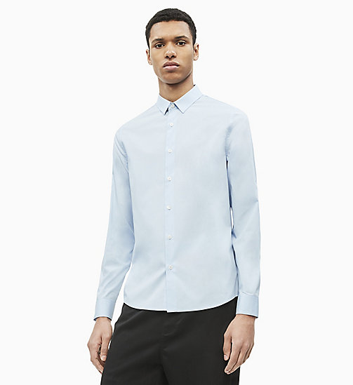 CALVIN KLEIN JEANS Slim Cotton Stretch Shirt - CHAMBRAY BLUE - CALVIN KLEIN JEANS CLOTHES - main image
