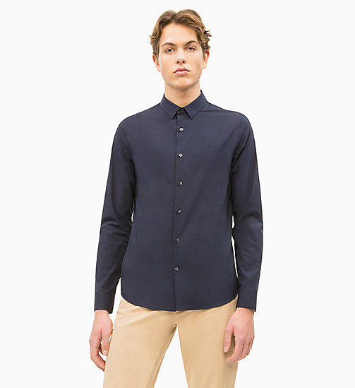 CALVIN KLEIN JEANS Slim Cotton Stretch Shirt - NIGHT SKY - CALVIN KLEIN JEANS CLOTHES - main image