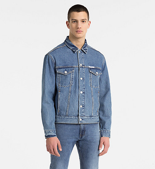 CALVIN KLEIN JEANS Logo Denim Trucker Jacket - LYON BLUE WITH PATCH - CALVIN KLEIN JEANS CLOTHES - main image