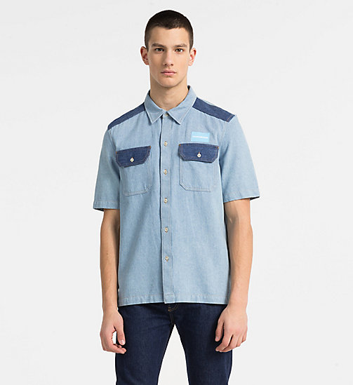 CALVIN KLEIN JEANS Two-Tone Denim Shirt - IRWIN BLUE BLOCKED - CALVIN KLEIN JEANS CLOTHES - main image